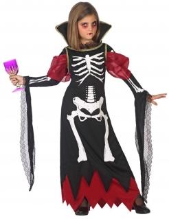 Vampir-Skelett Kinderkostüm schwarz-weiss-rot