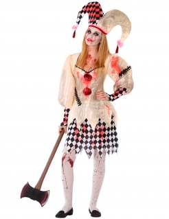 Blutiges Harlekin-Kostüm für Jugendliche schwarz-weiss-rot