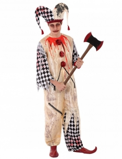 Killerclown Jugendkostüm schwarz-weiss-rot