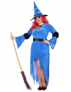 Winerhexenkostüm für Damen Übergröße blau-schwarz