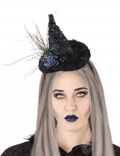 Haarband mit Hexenhut für Erwachsene schwarz-blau