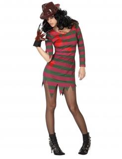 Alptraum-Mörderin Damenoutfit für Halloween grün-rot