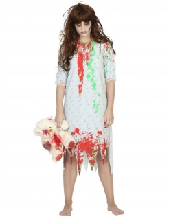 Zombiekostüm Nachthemd für Damen weiss-grün-rot