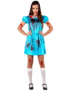 Horror Zimmermädchen-Kostüm für Damen blau-weiss