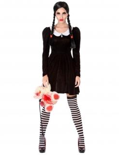 Düstere Schülerin Schulmädchen-Kostüm für Damen schwarz-weiss