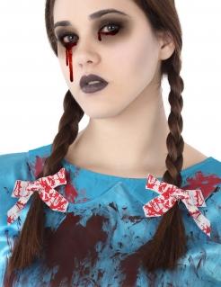 Blutige Haarschleifen für Halloween weiss-rot