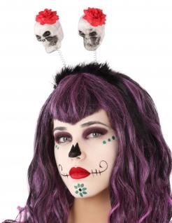 Dia de los Muertos Haarband für Erwachsene schwarz-weiss-rot
