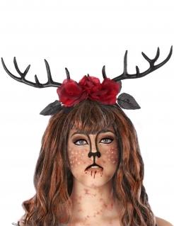 Hörner-Haarband für Damen schwarz-rot