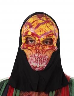 Blutige Skelett-Maske Halloween-Maske rot-gelb-schwarz