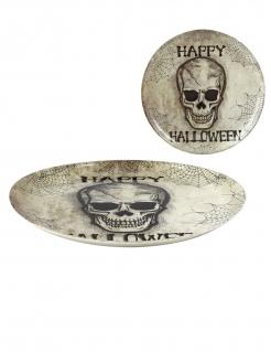 Totenschädel-Partyteller grau-schwarz 34 cm