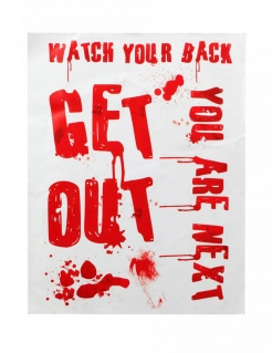 Blutiges Horrorplakat Get out weiss-rot 42 x 19 cm