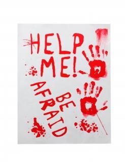 Blutverschmiertes Horrorposter Help me weiss-rot 42 x 19 cm