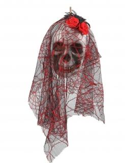 Tag der Toten-Hängedeko Totenschädel weiss-rot 15 x 30 cm