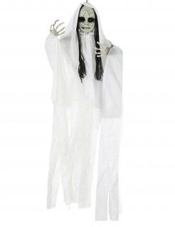 Leuchtende Horrorpuppen-Deko weiss-grau-schwarz 100 x 70 cm