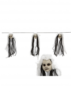 Horrorgirlande mit Puppenköpfen schwarz-weiss 153 cm