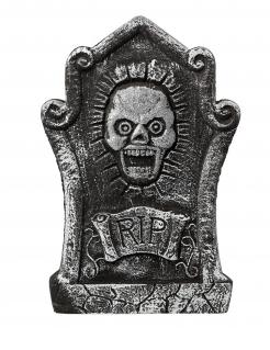 Totenkopf-Grabstein für Halloween grau 44 x 30 cm