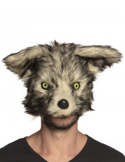 Plüschige Werwolf-Maske für Erwachsen grau-schwarz