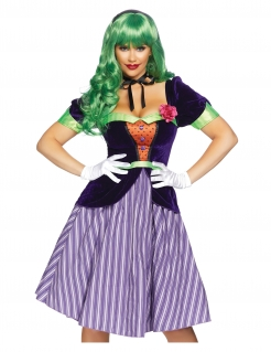 Verrückter Harlekin Kostüm für Damen violett-grün-orange