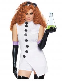Verrückte Wissenschaftlerin Damen-Kostüm weiss-schwarz-violett