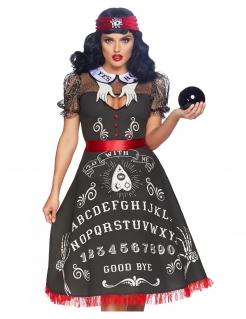 Geheimnisvolle Wahrsagerin Damen-Kostüm schwarz-weiss-rot