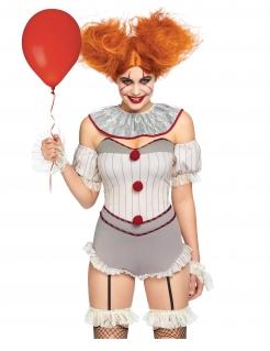 Sexy Killerclown-Kostüm für Damen weiss-grau-rot