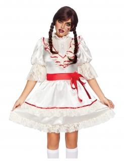 Horrorpuppen-Kostüm für Damen weiss-rot
