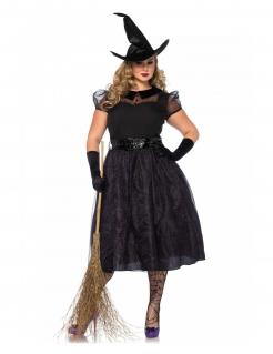 Hexen-Damenkostüm in Übergröße schwarz