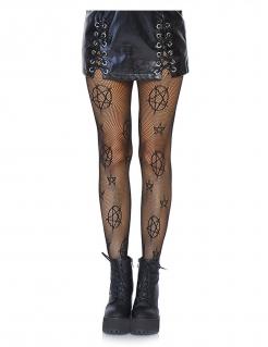 Damenstrumpfhose mit Pentagrammen schwarz