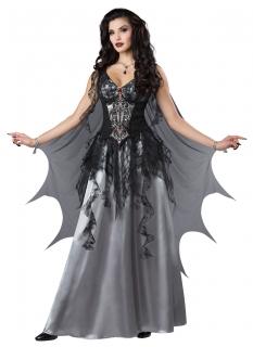 Vampir-Kostüm für Damen dunkle Fürstin Halloween schwarz-grau