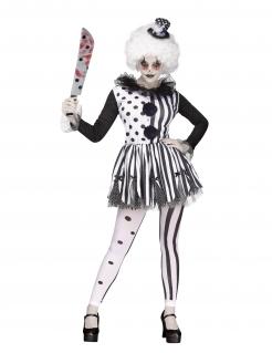Böser Killerclown Damen-Kostüm schwarz-weiss
