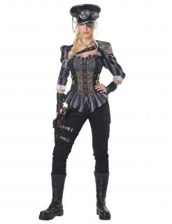 Steampunk-Kostüm für Damen Kämpferin grau-schwarz