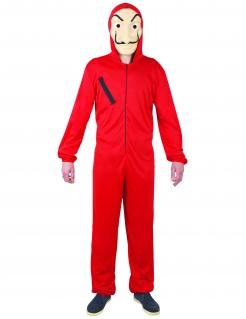 Jugendliches Bankräuber-Kostüm rot-schwarz