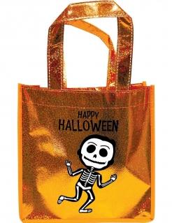 Happy Halloween Süßigkeiten-Tasche für Kinder orange-weiss-schwarz
