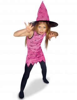 Niedliche Spinnen-Hexe Kostüm für Mädchen rosa-schwarz