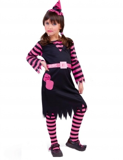 Süßes Kinder-Hexenkostüm für Halloween schwarz-rosa