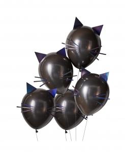 Katze-Luftballon Halloween-Deko 5 Stück schwarz-lila