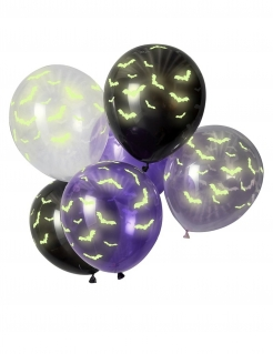 Leuchtende Fledermaus-Luftballons für Halloween 6 Stück bunt 30 cm