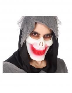 Lächelnde Skelett-Halbmaske für Erwachsene weiß-rot