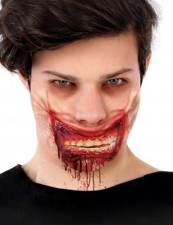 Blutiges Zombie-Maul Halloween-Wunde für Erwachsene rot-weiß