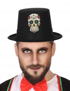 Tag der Toten-Hut für Herren Halloween-Accessoire schwarz-bunt