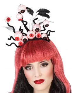 Durchgeknallter Augen-Haarreif für Damen schwarz-weiß-rot