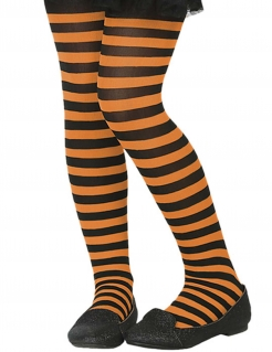 Halloween-Kinderstrumpfhose schwarz-orange gestreift