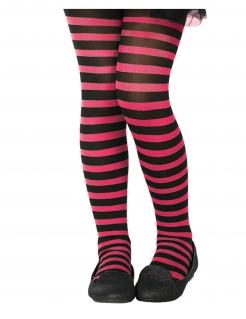 Halloween Kinder-Strumpfhose elastisch schwarz-pink