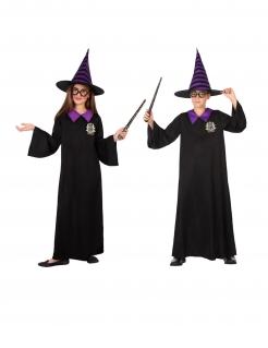 Magier Schul-Kostüm für Kinder schwarz-violett