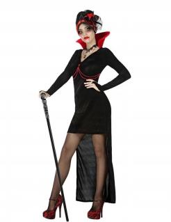 Gothic Vampir-Verkleidung für Damen schwarz-rot