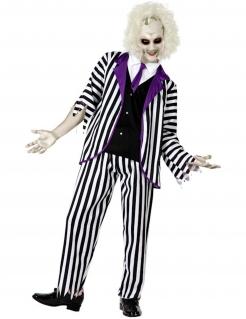 Verrückter Geister Film-Kostüm für Herren schwarz-weiss-violett
