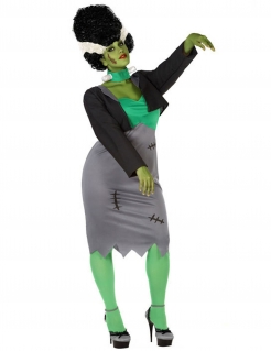 Monsterkostüm für Damen in Übergröße grau-grün-schwarz