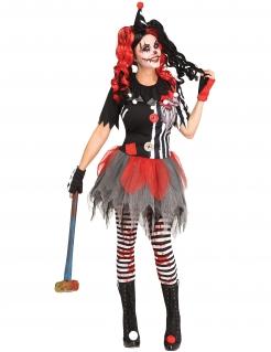 Harlekin-Kostüm für Damen schwarz-rot-weiss