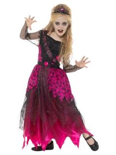 Zombie Ballkönigin Kinder-Kostüm rosa-schwarz
