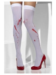 Blutige Overknees für Damen weiss-rot